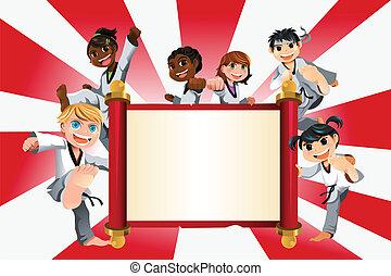 karate, gyerekek, transzparens