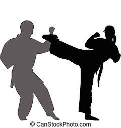 karate, gyufa, -, vektor