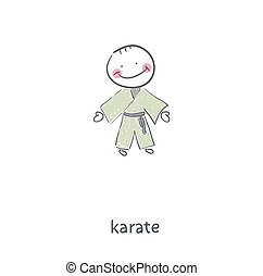 karate., illustration.