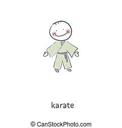 karate., illustration.