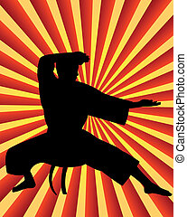 karate man on a red background yellow