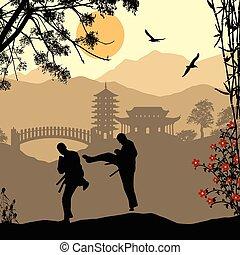 Karate in asian landscape