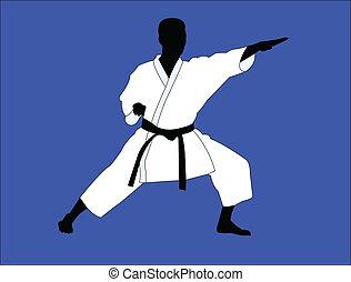 karate, játékos, -, vektor