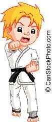 karate, jongen, spotprent, speler
