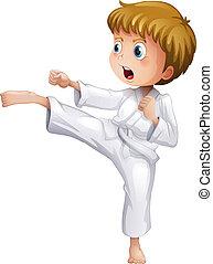 karate, jongen, zijn, dapper, bewegingen