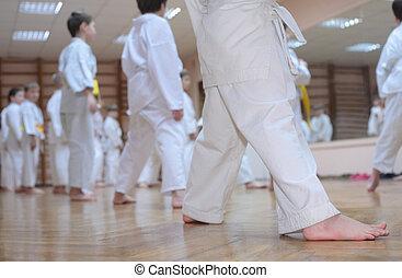 karate, jongens, in, sportende, zaal