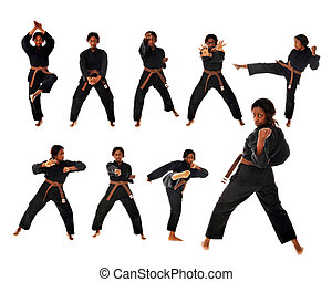 Karate Kata - Composite of 9 individual images of an African...