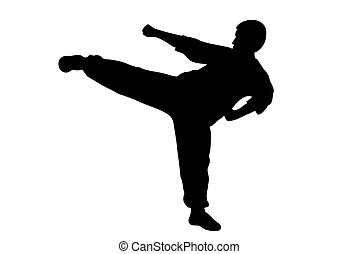 Karate kick - Black silhouette of  karate man kicking high