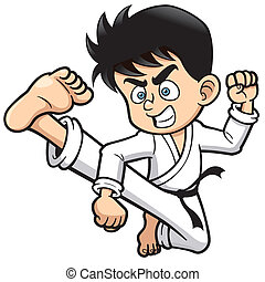 Karate kick - Vector illustration of Boy Karate kick