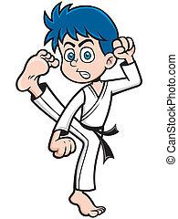 Karate kick - Vector illustration of Boy Karate kick