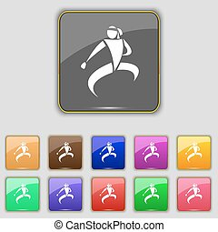 Karate kick icon sign. Set with eleven colored buttons for...