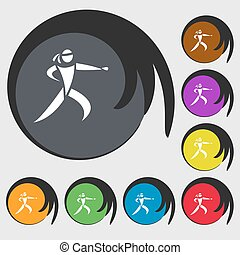 Karate kick icon. Symbols on eight colored buttons. Vector...