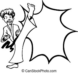 Karate Kick line art vector illustration image scalable to...