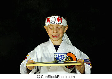 Karate Kid 2 - Child Wearing Karate Outfit (Gee) Holding...