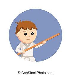 karate kid holding bo staff in circle background