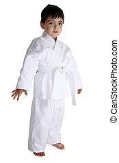 Karate Kid - Four year old boy dressed in karat gi uniform...