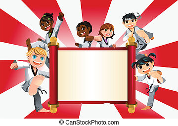 Karate kids banner - A vector illustration of a banner with...