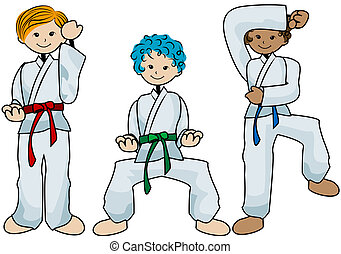 Karate Kids with Clipping Path