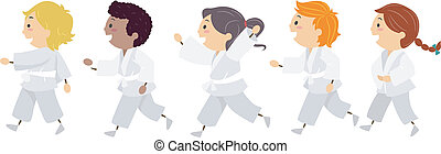 Karate Kids - Illustration Featuring Kids Learning Karate