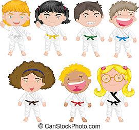Karate kids - Illustration of karate kids on a white...