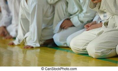 Karate Kids in line