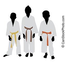 Karate kids with different color belt rank - Illustration of...