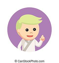 karate, kind, in, kreis, hintergrund