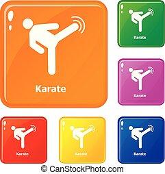 karate kleur, set, vector, iconen