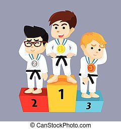 karate, knaben, alles, gewonnen, podium