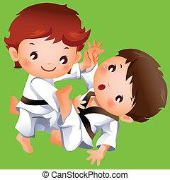 karate, knaben, zwei, konkurrenz, zwischen
