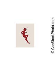 karate, kriegerische kunst, silhouette, von, frau, mit, schwert