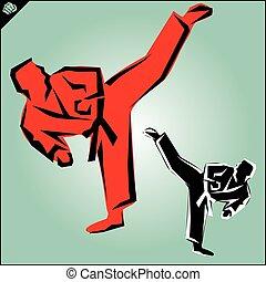 karate, krijgshaftig, arts., fighters.