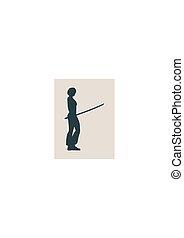 karate, krijgshaftige kunst, silhouette, van, vrouw, met, zwaard