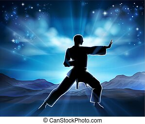 Karate Kung Fu Man Silhouette Concept