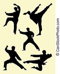 karate, kunst, silhouette, krijgshaftig, 01.