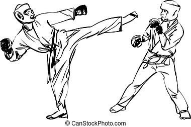 karate, kyokushinkai, kunsten, krijgshaftig, sporten