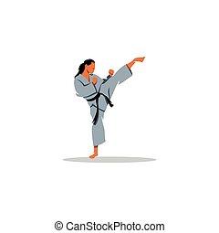 karate, leány, vektor, cégtábla., illustration.