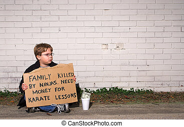 Karate Lessons - A young boy collecting funds for karate...