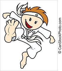 karate, lindo, vector, niño