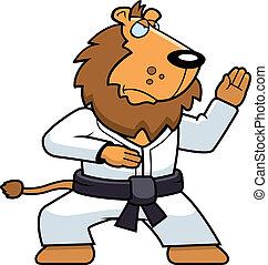 Karate Lion - A cartoon lion doing karate in a gi.