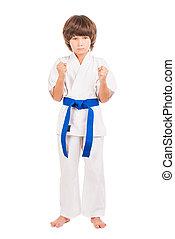 Karate. Little boy dress karate uniform isolated on white