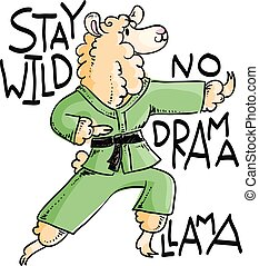 Karate llama in kimono, vector cute illustration. Stay wild,...