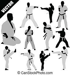 karate, luchadores, siluetas