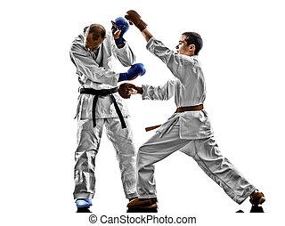 karate, maenner, teenager, schueler, kämpfen, schutz