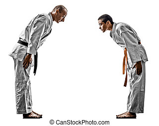 karate, maenner, teenager, schueler, kämpfer, kämpfen