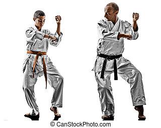 karate, maenner, teenager, schueler, lehrer, unterricht
