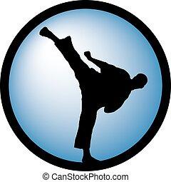 karate, magas, megrúg, dlue, kerek, jel