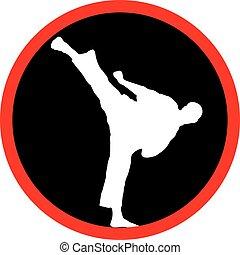 karate, magas, megrúg, fekete, jel