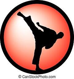 karate, magas, megrúg, piros, jel