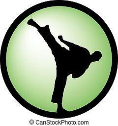 karate, magas, megrúg, zöld, jel